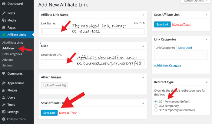 Add-new-Affiliate-link