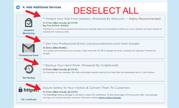 hostgator-deselect-addons