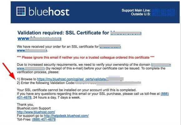 Validation-required-email-Bluehost