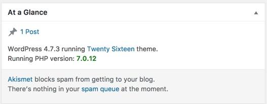 WordPress Dashboard PHP 7