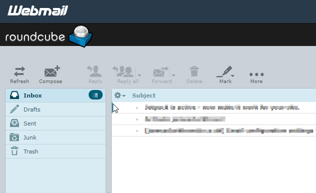 BlueHost Webmail Inbox