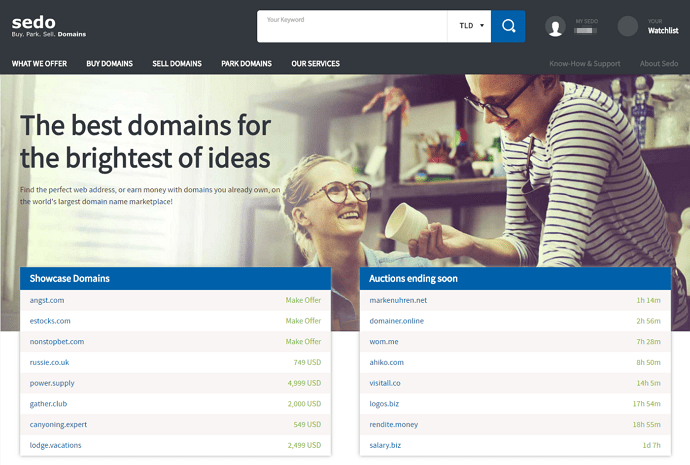 Sedo.com - best domain marketplaces to sell domain names
