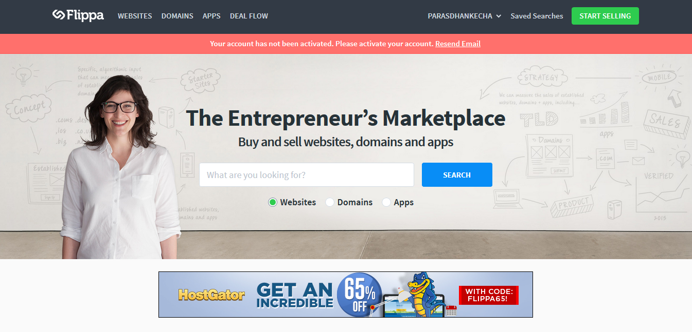 Flippa - best domain marketplaces to sell domain names