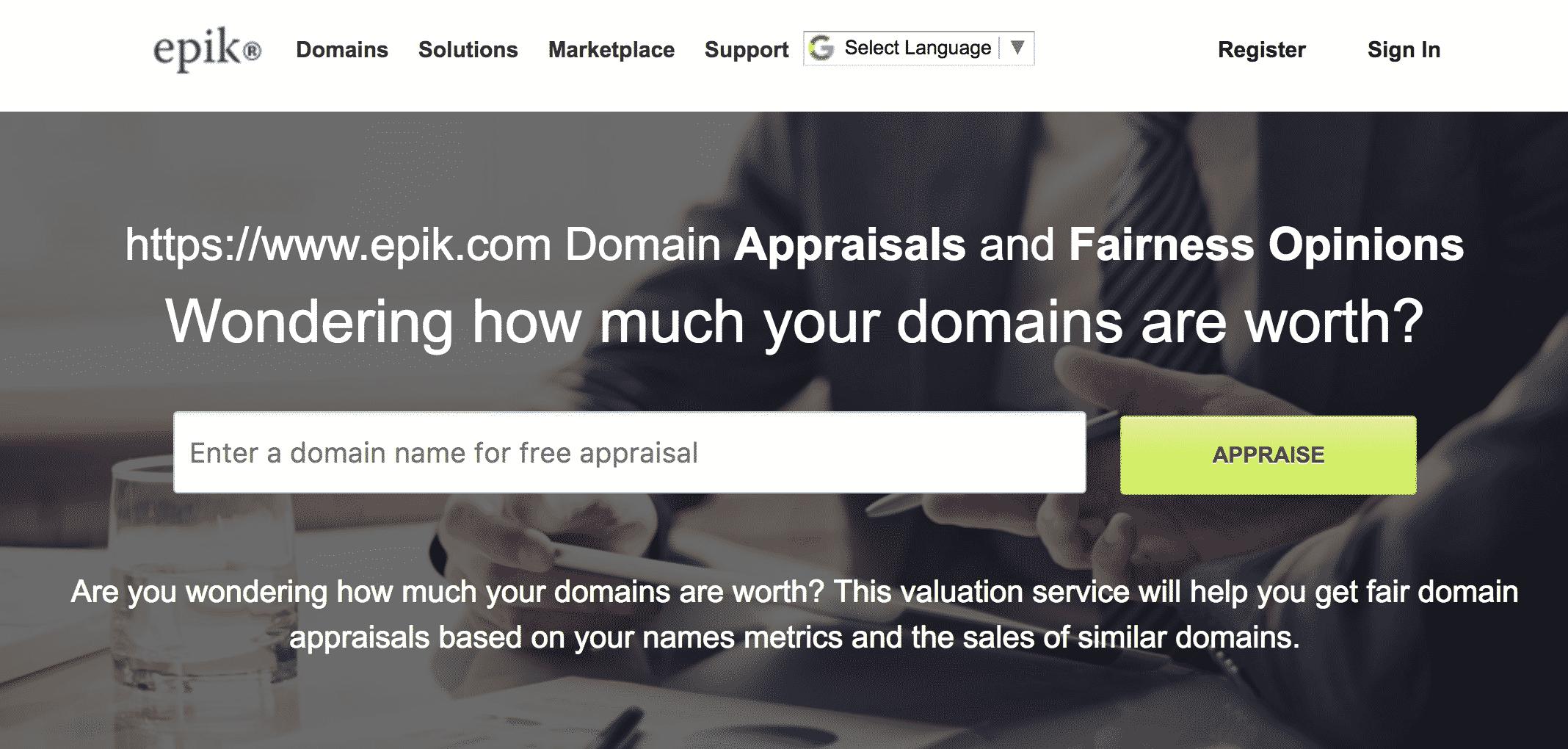 Epik Valuator - Best Domain Appraisal
