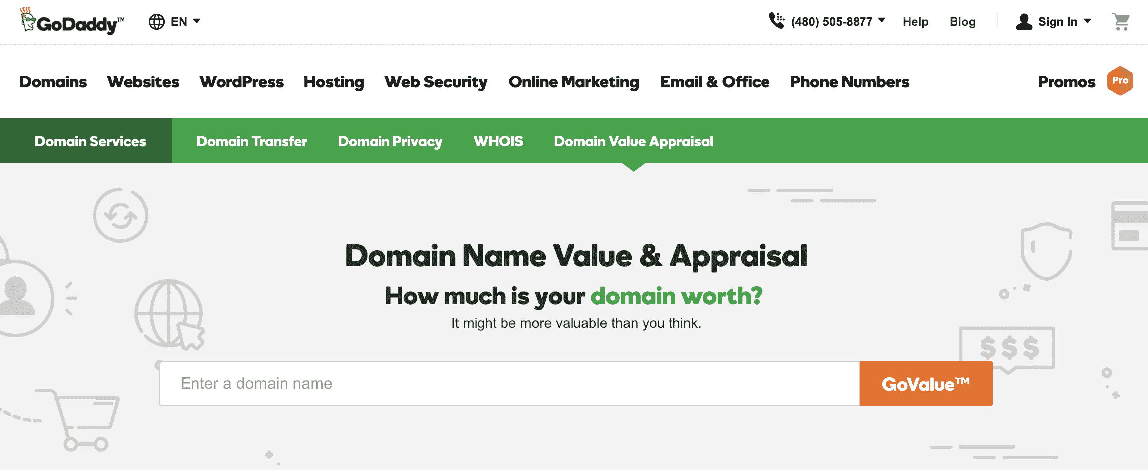 GoDaddy - best domain appraisal tools