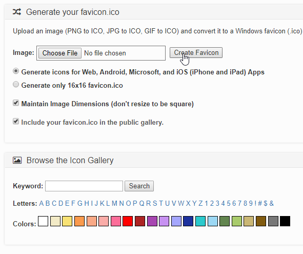 create generate favicon