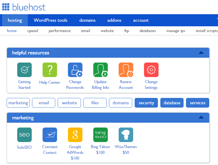 BlueHost cPanel Home